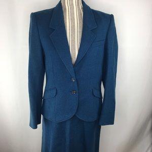 Vintage Villager blue skirt suit